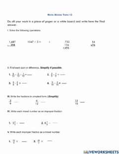 Ficha interactiva Mixed numbers and improper fractions