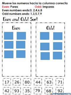 Interactive worksheet Even and Odd Numbers