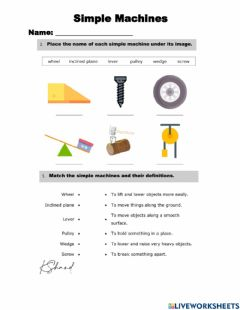 Interactive worksheet Simple Machines Worksheet