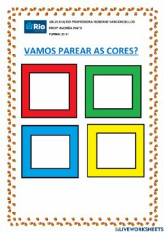 Interactive worksheet Vamos parear as cores?