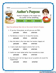 Interactive worksheet Author's Purpose