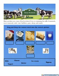Ficha interactiva Dairy products