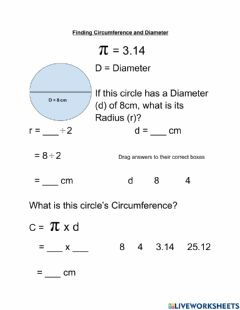 Interactive worksheet Finding Circumference and Diameter