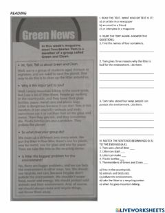 Interactive worksheet Reading and listening practice