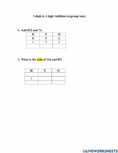 Ficha interactiva Addition with Regrouping 3-2 digit regroup tens-worksheet 3