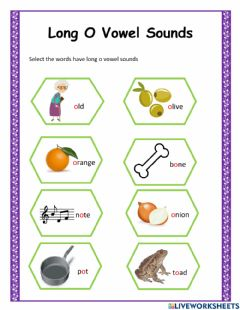 Interactive worksheet Long and Short O Vowel sounds