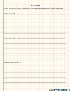Interactive worksheet My daily routine - writing