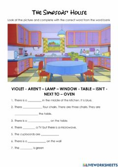 Interactive worksheet The Simpsons' kitchen