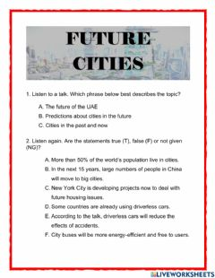 Interactive worksheet Lesson 1-2 The future Cities