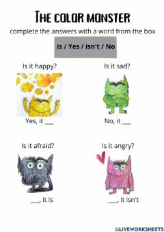 Ficha interactiva The color monster short answer questions