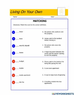 Ficha interactiva Living on your own-Vocabulary