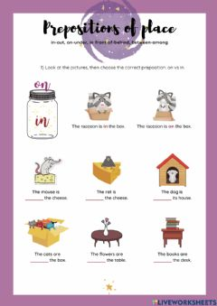 Interactive worksheet Prepositions of place 2