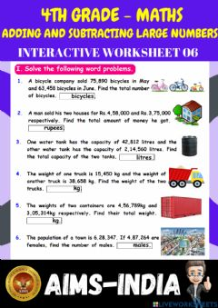 Ficha interactiva 4th-maths-ps06-adding and subtracting large numbers - ch 02