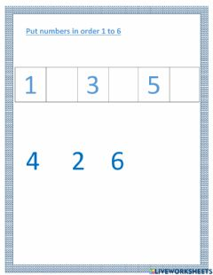 Interactive worksheet Missing numbers 1 to 6