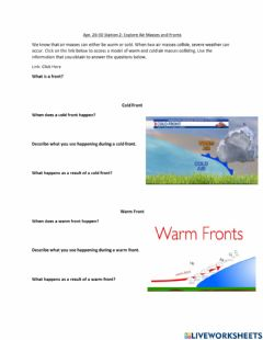 Interactive worksheet Air Masses and Fronts
