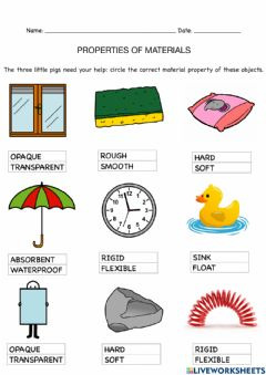 Interactive worksheet Materials and their properties