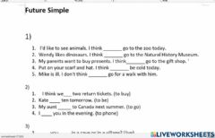 Interactive worksheet Future, to be going to