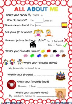 Interactive worksheet ALL ABOUT ME. Listen to the questions given in the audio