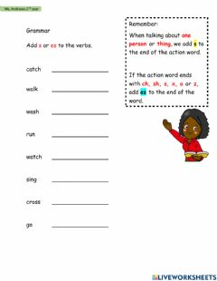 Interactive worksheet Simple Present- Adding s-es to Verbs