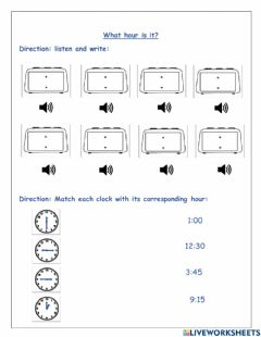 Interactive worksheet What hour is it?