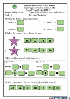 Ficha interactiva Multiplication and division