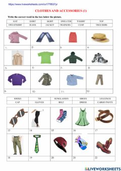 Interactive worksheet Clothes and accessories (1)