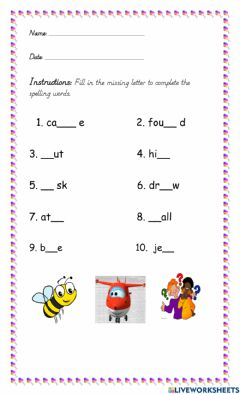 Interactive worksheet Spelling week 24