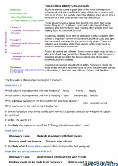 Interactive worksheet Persuasive Text Structure Simple