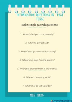 Interactive worksheet Wh questions in past tense
