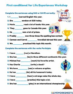 Interactive worksheet Present Perfect Life Experiences