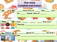 Interactive worksheet Yummy food! Complete and answer