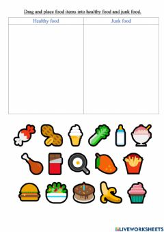 Interactive worksheet Drag and drop food items into healthy food and junk food