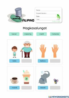 Interactive worksheet Magkasalungat with Pictures (HuntersWoodsPH Filipino)