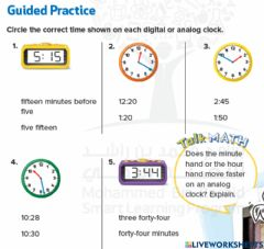 Ficha interactiva Tell time to minutes