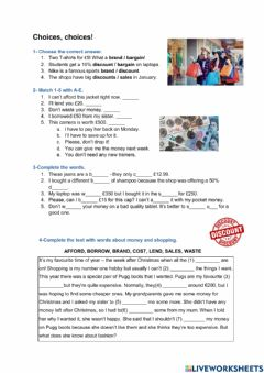 Interactive worksheet Money and shopping