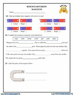 Interactive worksheet Magnets revision