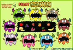 Interactive worksheet Fruit Monsters (Listen-Drag-Drop)