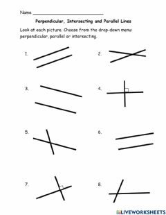 Interactive worksheet Perpendicular, parallel and intersecting lines