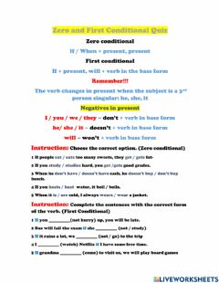 Interactive worksheet Zero and Second Conditional