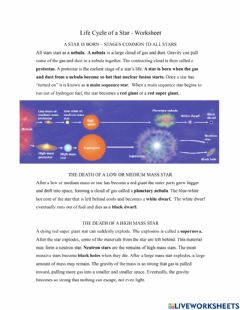 Interactive worksheet Cycle of Star