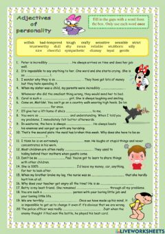 Interactive worksheet Adjectives to describe personality