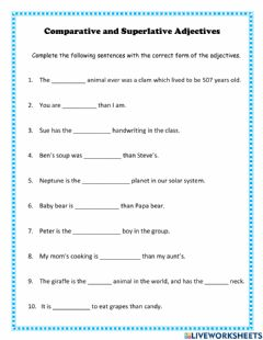 Interactive worksheet Comparative and Superlative Adjectives
