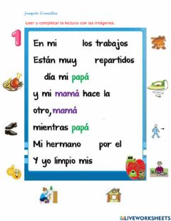 Interactive worksheet Lectura pictográfica
