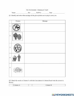 Interactive worksheet Keeping in touch - Our environment