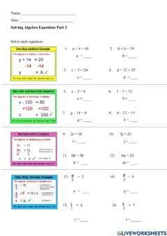 Interactive worksheet Solving One Step Equations