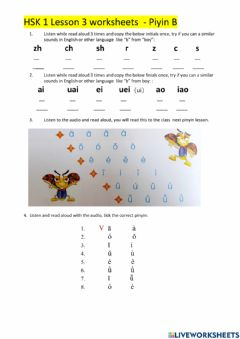 Interactive worksheet HSK 1 Lesson 3 pinyin C