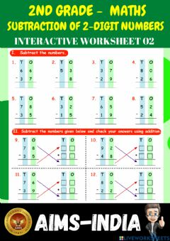 Ficha interactiva 2nd-maths-ps02-subtraction of 2-digit numbers
