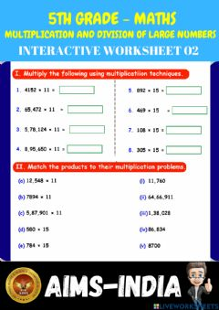 Ficha interactiva 5th-maths-ps02-multiplication and division of large numbers