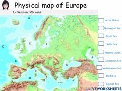 Interactive worksheet Physical map of Europe