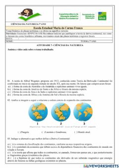 Interactive worksheet Deriva continental